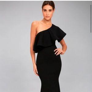 Lulus So Amazed Black One-Shoulder Maxi Dress